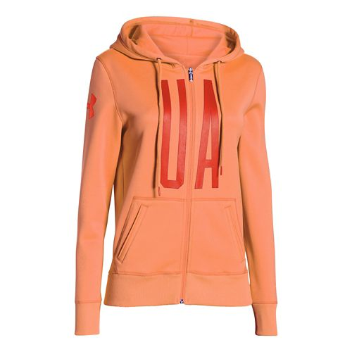 Womens Under Armour Storm Armour Fleece Full-Zip Graphic Warm Up Hooded Jackets - Cyber ...