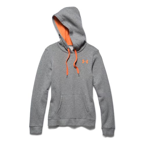 Womens Under Armour Rival Fleece Pullover Long Sleeve Hooded Technical Tops - Warm Grey Heather ...