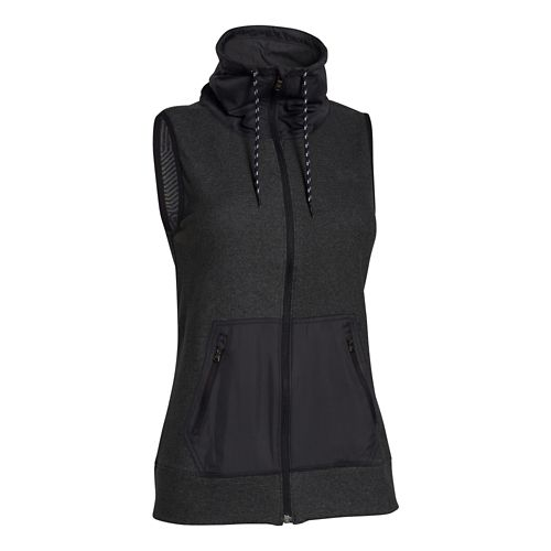 Womens Under Armour Survivor Hybrid Full-Zip Outerwear Vests - Black/Black XL