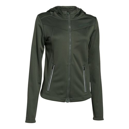 Womens Under Armour Windstorm Full Zip Warm Up Hooded Jackets - Downtown Green S