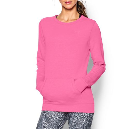 Womens Under Armour ColdGear Infrared Cozy Crew Long Sleeve No Zip Technical Tops - Pink ...