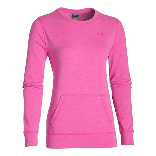 Womens Under Armour ColdGear Infrared Cozy Crew Long Sleeve No Zip Technical Tops - Rebel Pink L