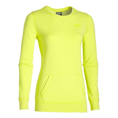 Womens Under Armour ColdGear Infrared Cozy Crew Long Sleeve No Zip Technical Tops - Flash ...