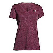 Womens Under Armour Tech Dope Dye V-Neck Short Sleeve Technical Tops - Rebel Pink/Silver XS