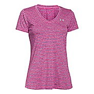 Womens Under Armour Tech Heather Stripe V-Neck Short Sleeve Technical Tops