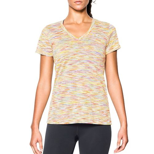 Womens Under Armour Tech Disruptive Space Dye Shortsleeve Technical Tops - White/Dark Orange XS
