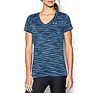 Womens Under Armour Tech Space Dye V-Neck Short Sleeve Technical Tops - Fresh Water/Silver S