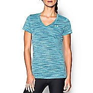 Womens Under Armour Tech Space Dye V-Neck Short Sleeve Technical Tops - Veneer/Silver S