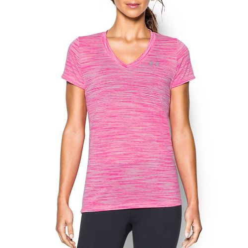 Womens Under Armour Tech Space Dye V-Neck Short Sleeve Technical Tops - Rose Water/Silver S ...