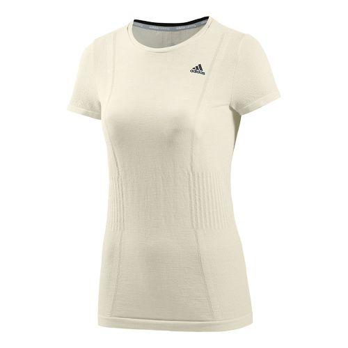 Womens adidas Adistar Primeknit Short Sleeve Technical Tops - Non-Dyed White M