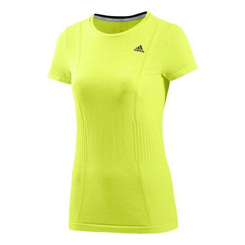 Womens adidas Adistar Primeknit Short Sleeve Technical Tops - Solar Yellow M