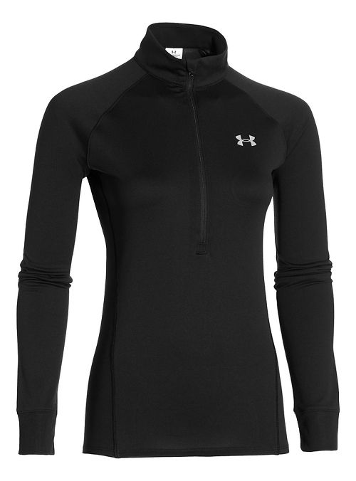 Womens Under Armour Tech 1/2 Zip Long Sleeve Technical Tops - Black/Silver L