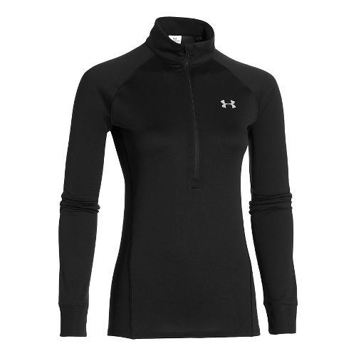 Womens Under Armour Tech 1/2 Zip Long Sleeve Technical Tops - Black/Silver L