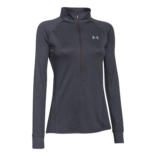 Womens Under Armour Tech 1/2 Zip Long Sleeve Technical Tops - Carbon Heather M