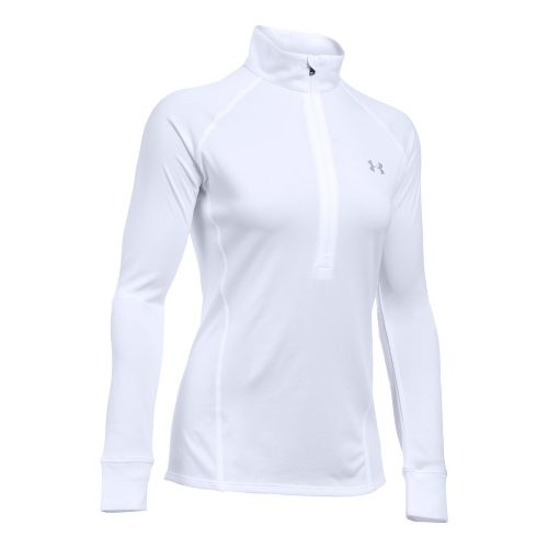 Womens Under Armour Tech 1/2 Zip Long Sleeve Technical Tops - White L