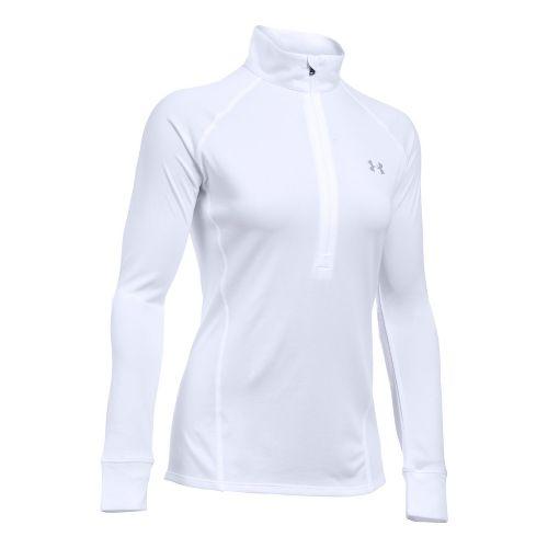 Womens Under Armour Tech 1/2 Zip Long Sleeve Technical Tops - White XS