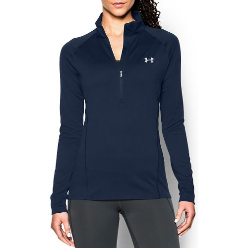 Womens Under Armour Tech 1/2 Zip Long Sleeve Technical Tops - Navy Seal L