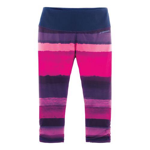 Womens Brooks Greenlight Capri (Printed) Pants - Navy Scape/Light Bloom M