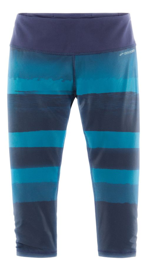Womens Brooks Greenlight Capri (Printed) Pants - River Scape/River XS