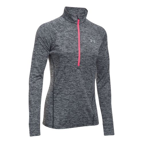 Womens Under Armour Tech 1/2 Zip Twist Long Sleeve Technical Tops - Black/Pink XL
