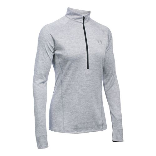 Womens Under Armour Tech 1/2 Zip Twist Long Sleeve Technical Tops - Steel M