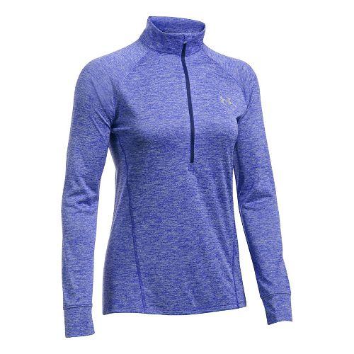 Womens Under Armour Tech 1/2 Zip Twist Long Sleeve Technical Tops - Purple L