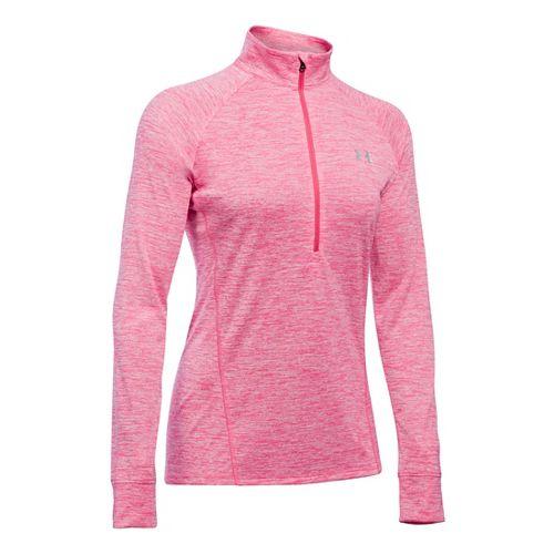 Womens Under Armour Tech 1/2 Zip Twist Long Sleeve Technical Tops - Pink Sky XS ...