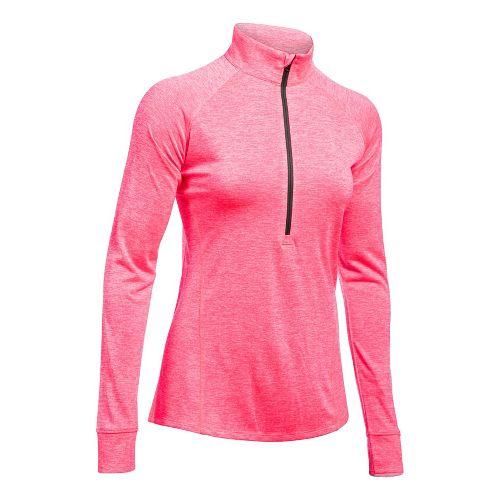Womens Under Armour Tech 1/2 Zip Twist Long Sleeve Technical Tops - Pink/Charcoal L