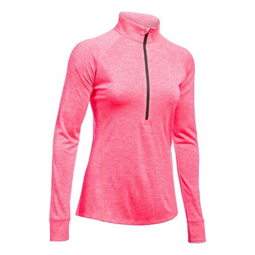Womens Under Armour Tech 1/2 Zip Twist Long Sleeve Technical Tops - Pink/Charcoal S