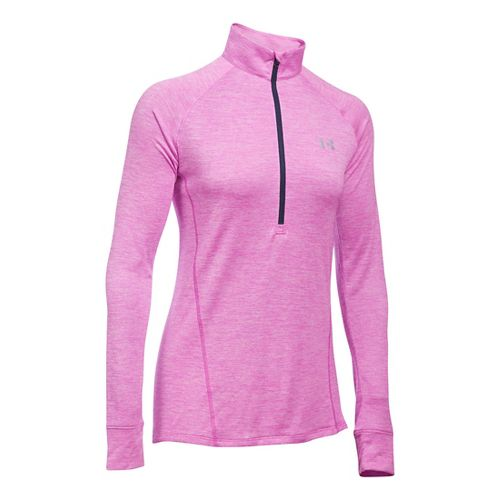 Womens Under Armour Tech 1/2 Zip Twist Long Sleeve Technical Tops - Verve Violet XS ...