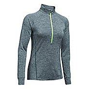Womens Under Armour Tech 1/2 Zip Twist Long Sleeve Technical Tops - Arden Green L