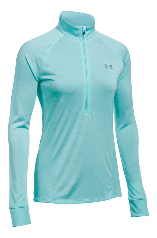Womens Under Armour Tech 1/2 Zip Twist Long Sleeve Technical Tops - Blue Infinity XL