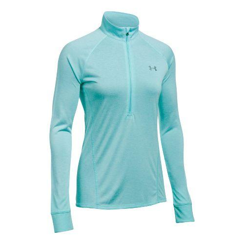 Womens Under Armour Tech 1/2 Zip Twist Long Sleeve Technical Tops - Blue Infinity L