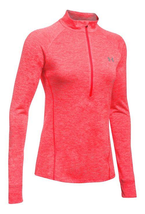 Womens Under Armour Tech 1/2 Zip Twist Long Sleeve Technical Tops - Marathon Red L