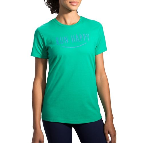 Womens Brooks Run Happy Smile Tee Short Sleeve Technical Tops - Parque L
