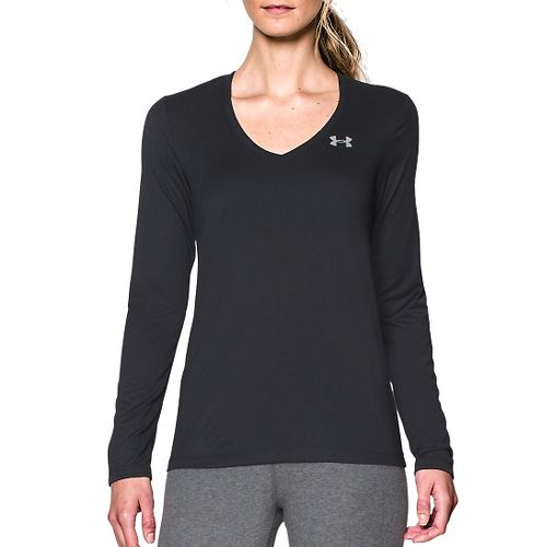 Womens Under Armour Tech Long Sleeve Technical Tops - Black/Silver XS