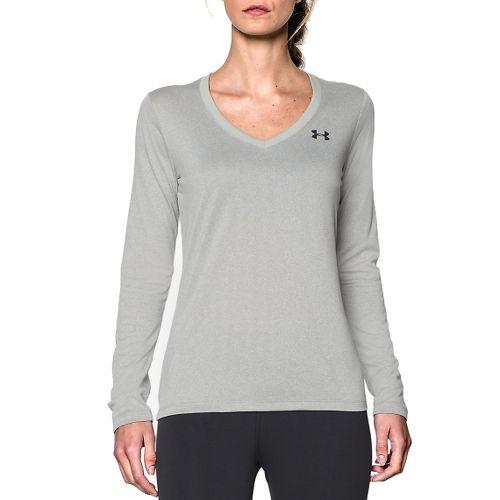 Womens Under Armour Tech Long Sleeve Technical Tops - Black/Silver XS