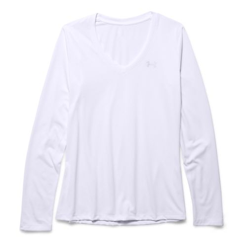 Womens Under Armour Tech Long Sleeve Technical Tops - White Silver/Silver L