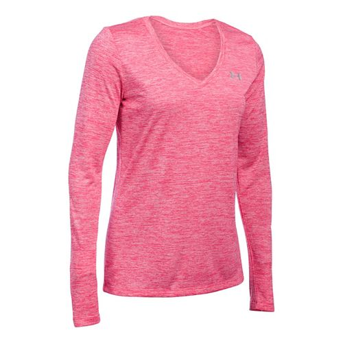Womens Under Armour Tech Twist Long Sleeve Technical Tops - Pink Sky M