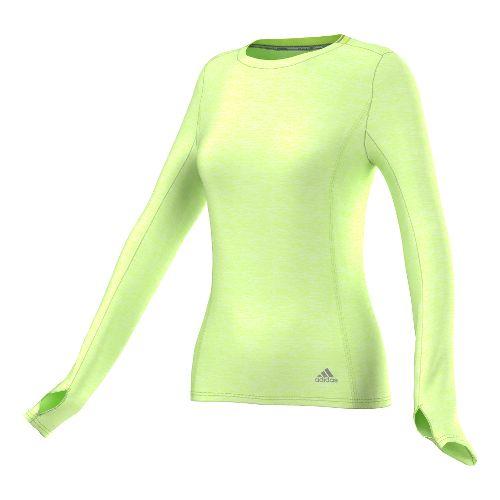 Womens adidas Supernova Tee Long Sleeve No Zip Technical Tops - Frozen Yellow S