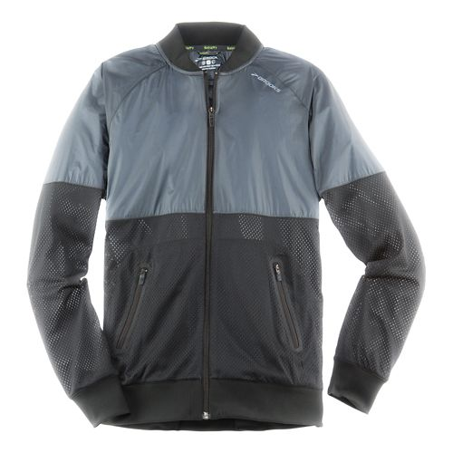 Mens Brooks Run-Thru Running Jackets - Black/Asphalt L