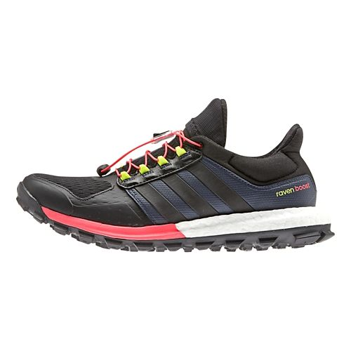Womens adidas adiSTAR Raven Boost Trail Running Shoe - Black/Flash Red 6.5