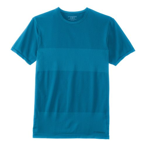 Mens Brooks Streaker Short Sleeve Technical Tops - Heather River L