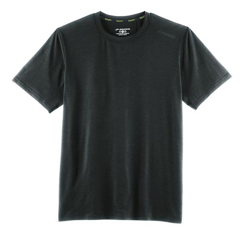 Mens Brooks Distance Short Sleeve Technical Tops - Heather Black L