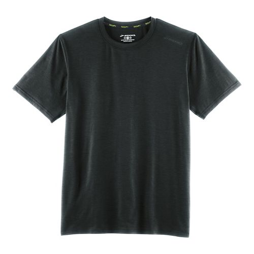 Mens Brooks Distance Short Sleeve Technical Tops - Heather Black S