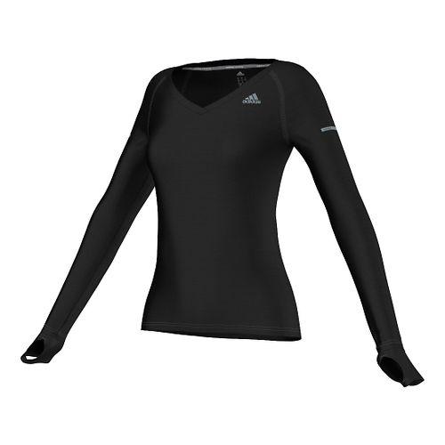 Womens adidas Infinite Series Tee Long Sleeve No Zip Technical Tops - Black M