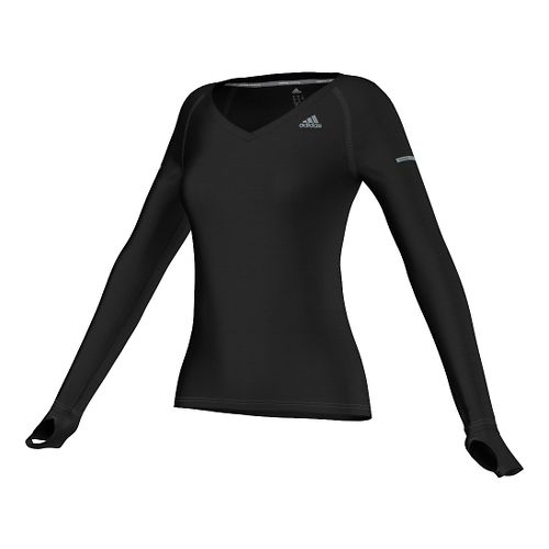 Womens adidas Infinite Series Tee Long Sleeve No Zip Technical Tops - Black S