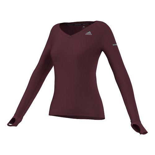 Womens adidas Infinite Series Tee Long Sleeve No Zip Technical Tops - Maroon S