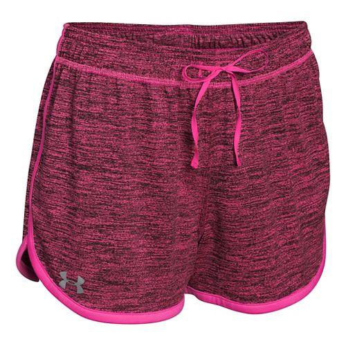 Womens Under Armour Tech Short Dope Dye Split Shorts - Rebel Pink/Silver S