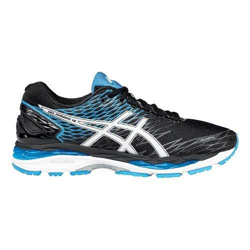 Mens ASICS GEL-Nimbus 18 Running Shoe - Black/Blue 12.5